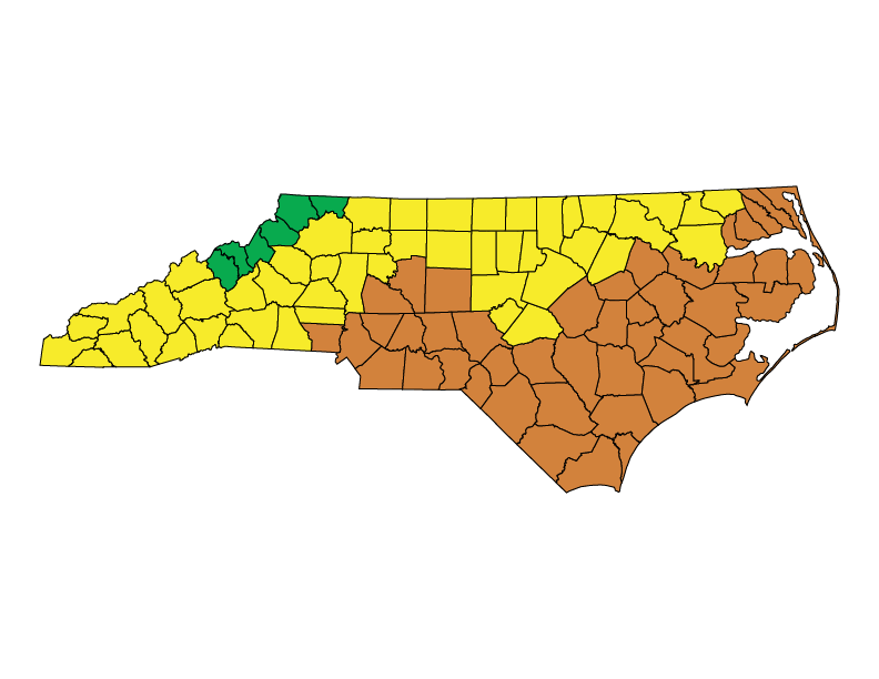 North Carolina climate zones